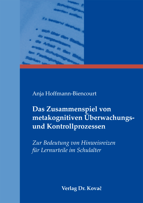 Cover: Das Zusammenspiel von metakognitiven Überwachungs- und Kontrollprozessen