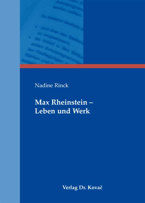 Cover: Max Rheinstein – Leben und Werk
