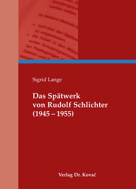 Cover: Das Spätwerk von Rudolf Schlichter (1945–1955)