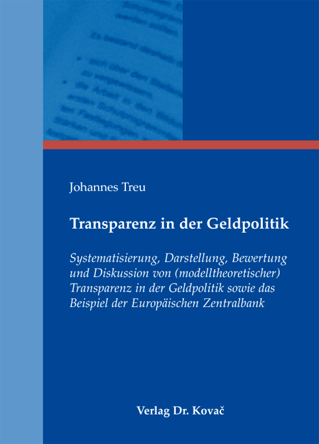 Cover: Transparenz in der Geldpolitik