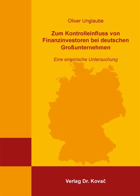 Cover: Zum Kontrolleinfluss von Finanzinvestoren bei deutschen Großunternehmen