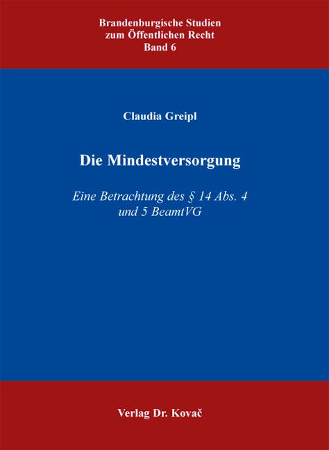 Cover: Die Mindestversorgung