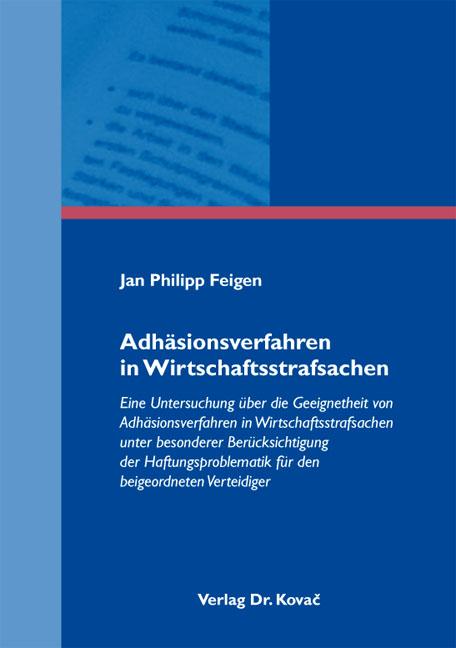 Cover: Adhäsionsverfahren in Wirtschaftsstrafsachen