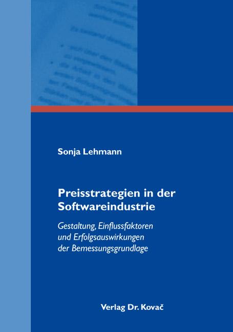 Cover: Preisstrategien in der Softwareindustrie