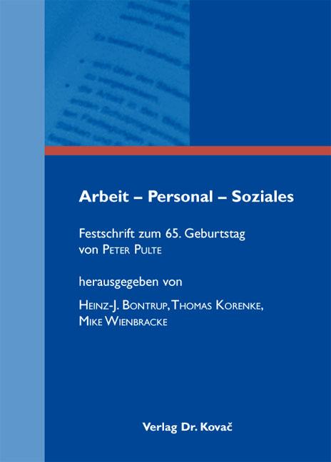 Cover: Arbeit – Personal – Soziales