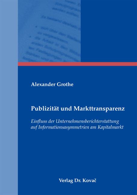 Cover: Publizität und Markttransparenz
