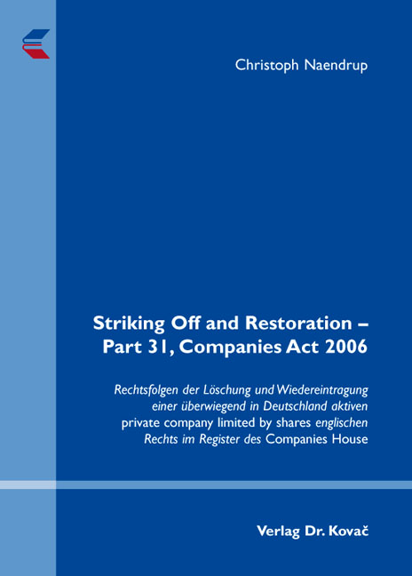 Cover: Striking Off and Restoration – Part 31, Companies Act 2006