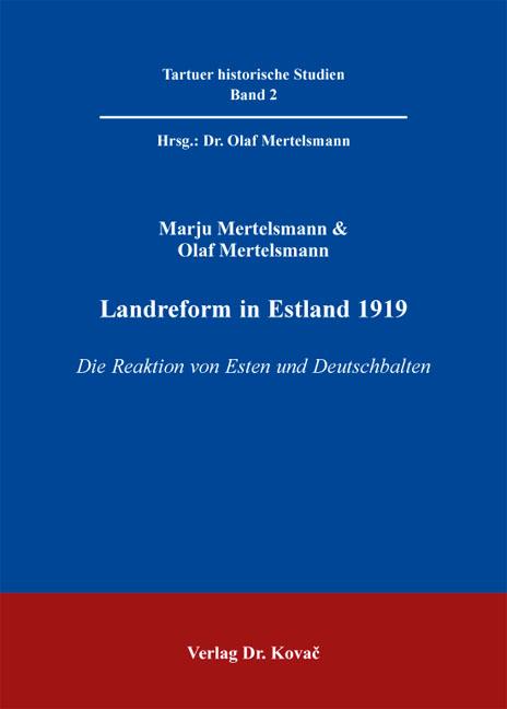 Cover: Landreform in Estland 1919