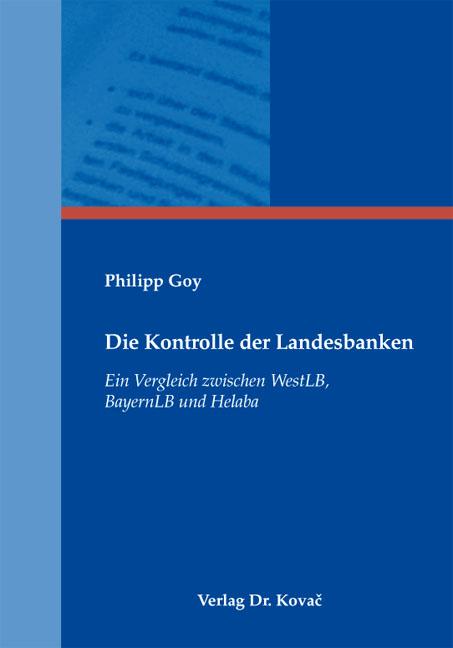 Cover: Die Kontrolle der Landesbanken