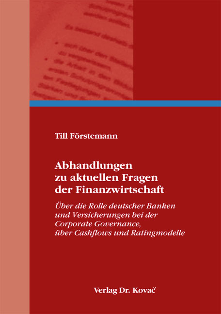 Cover: Abhandlungen zu aktuellen Fragen der Finanzwirtschaft