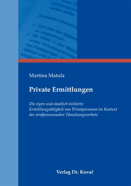 Cover: Private Ermittlungen