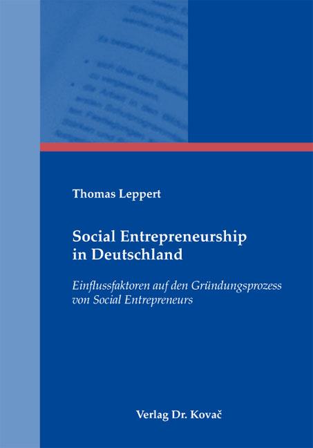 Cover: Social Entrepreneurship in Deutschland