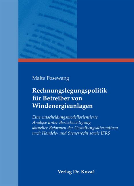 Cover: Rechnungslegungspolitik für Betreiber von Windenergieanlagen