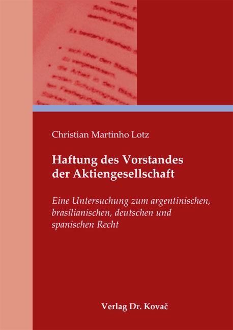 Cover: Haftung des Vorstandes der Aktiengesellschaft