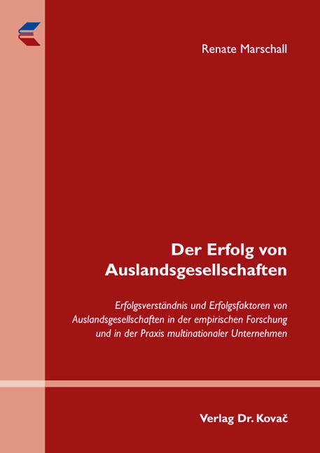 Cover: Der Erfolg von Auslandsgesellschaften