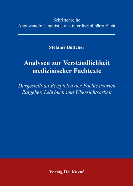 Cover: Analysen zur Verständlichkeit medizinischer Fachtexte