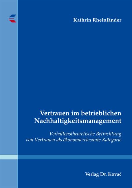 Cover: Vertrauen im betrieblichen Nachhaltigkeitsmanagement