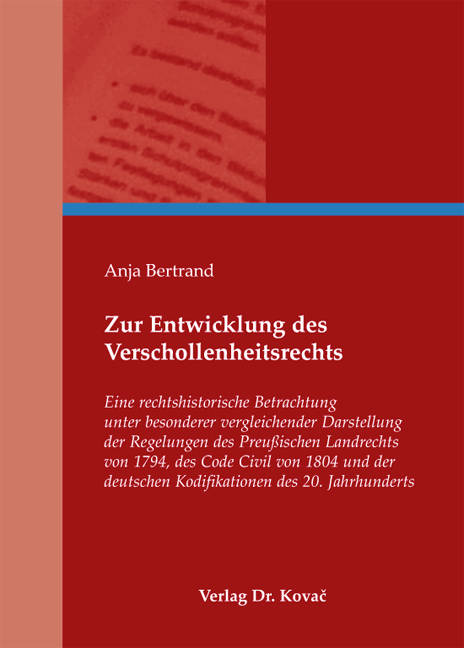 Cover: Zur Entwicklung des Verschollenheitsrechts