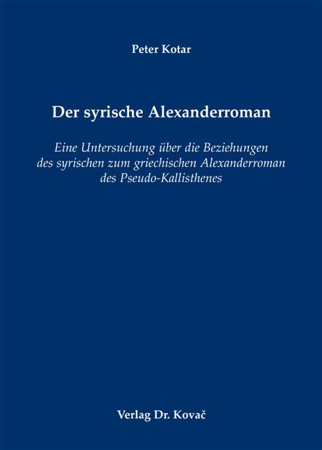 Cover: Der syrische Alexanderroman
