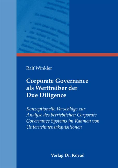 Cover: Corporate Governance als Werttreiber der Due Diligence