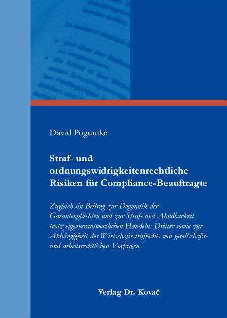 Cover: Straf- und ordnungswidrigkeitenrechtliche Risiken für Compliance-Beauftragte