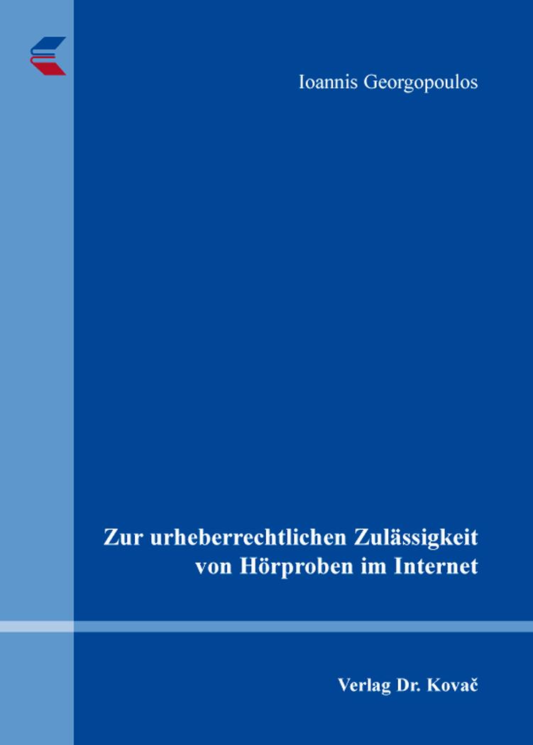 Cover: Zur urheberrechtlichen Zulässigkeit von Hörproben im Internet