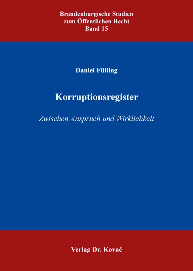 Cover: Korruptionsregister