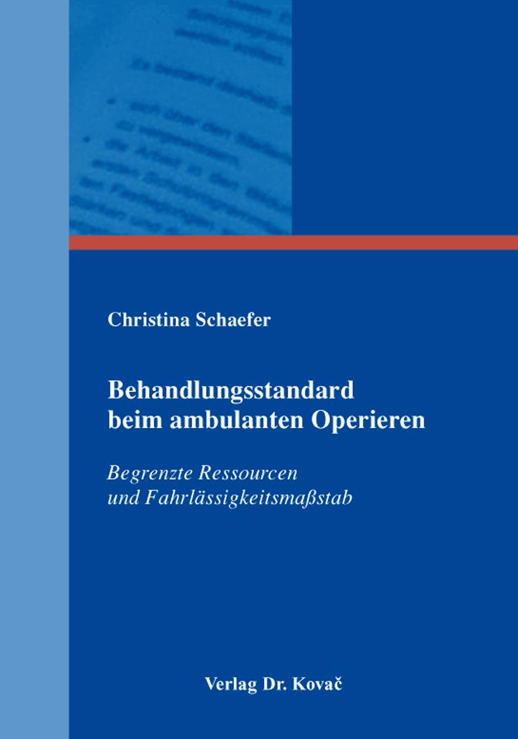 Cover: Behandlungsstandard beim ambulanten Operieren