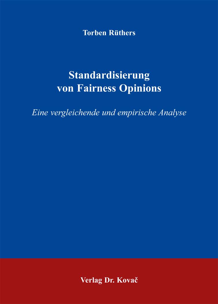 Cover: Standardisierung von Fairness Opinions