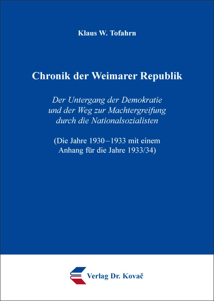 Cover: Chronik der Weimarer Republik