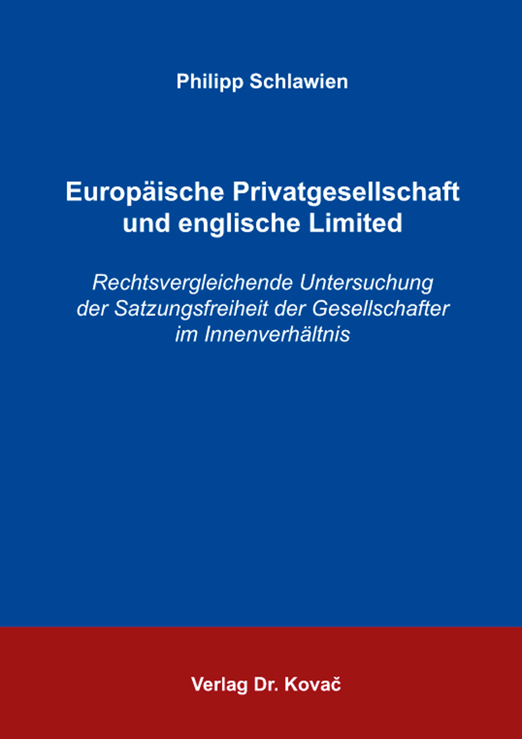 Cover: Europäische Privatgesellschaft und englische Limited