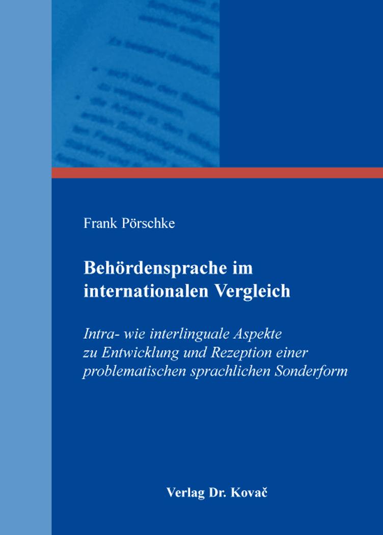 Cover: Behördensprache im internationalen Vergleich