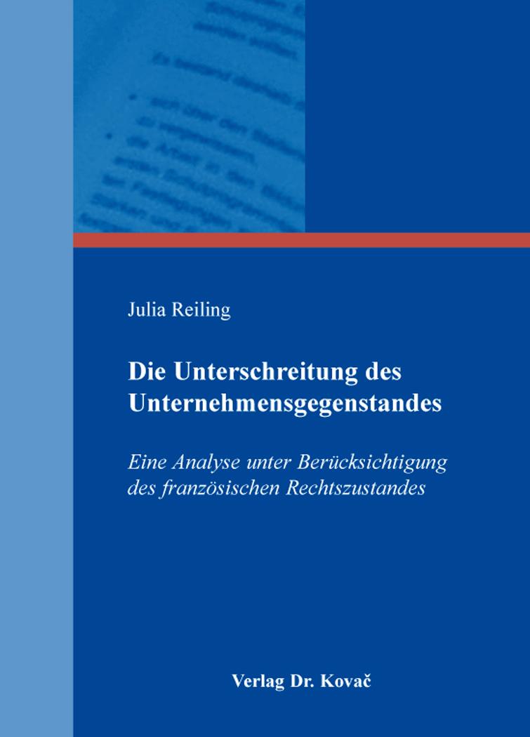 Cover: Die Unterschreitung des Unternehmensgegenstandes