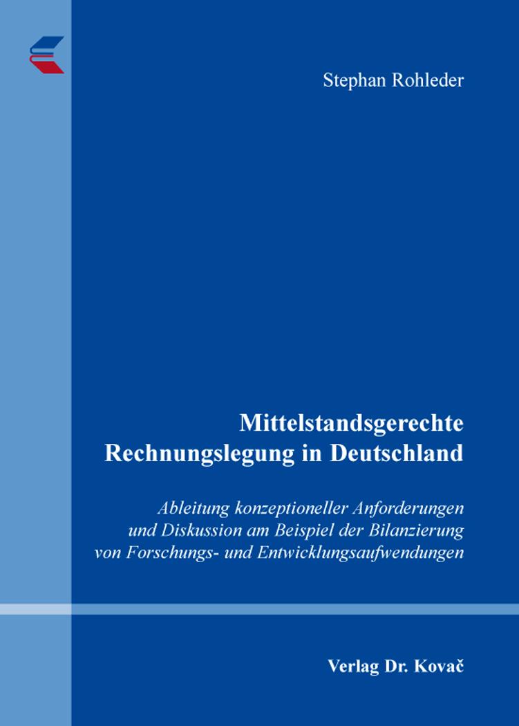 Cover: Mittelstandsgerechte Rechnungslegung in Deutschland