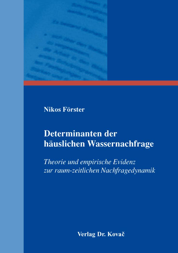 Cover: Determinanten der häuslichen Wassernachfrage