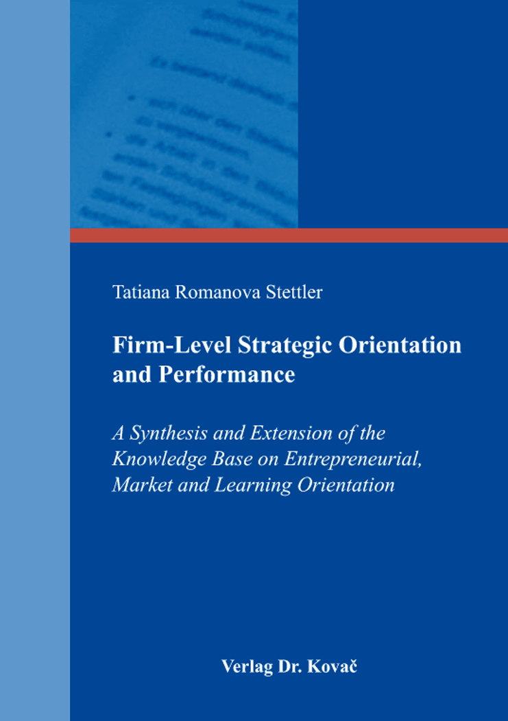Cover: Firm-Level Strategic Orientation and Performance