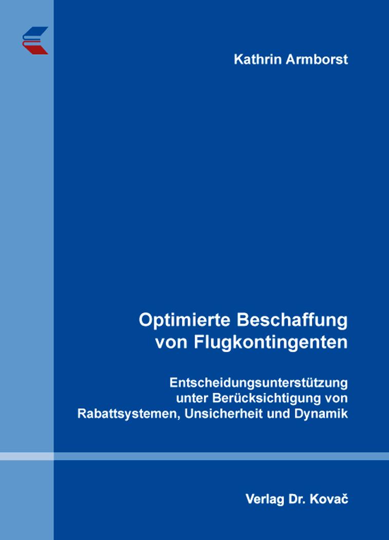 Cover: Optimierte Beschaffung von Flugkontingenten