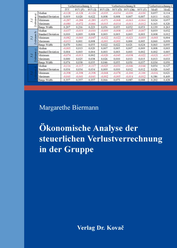 Cover: Ökonomische Analyse der steuerlichen Verlustverrechnung in der Gruppe