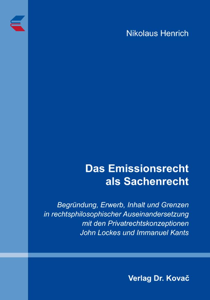 Cover: Das Emissionsrecht als Sachenrecht