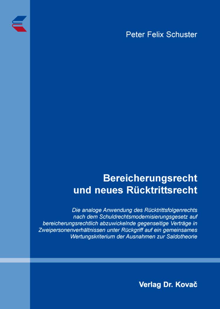 Cover: Bereicherungsrecht und neues Rücktrittsrecht