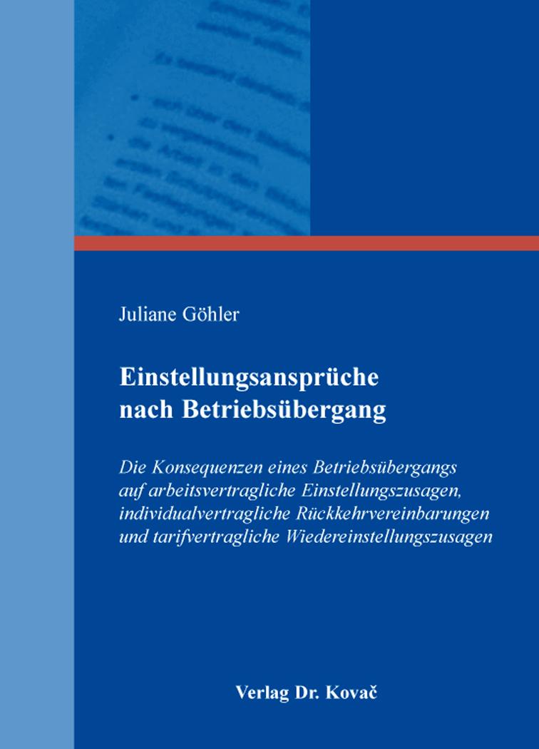 Cover: Einstellungsansprüche nach Betriebsübergang