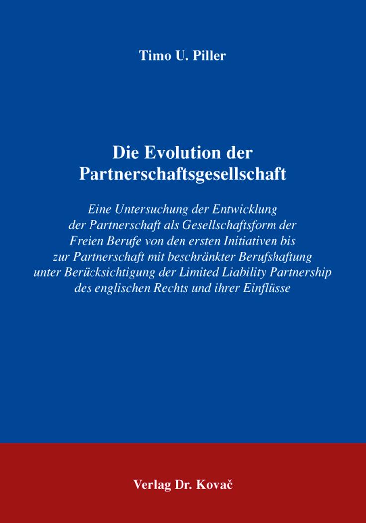 Cover: Die Evolution der Partnerschaftsgesellschaft