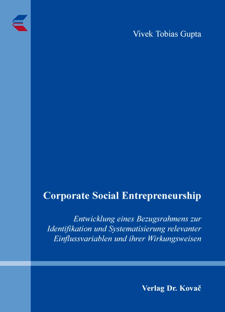 Cover: Corporate Social Entrepreneurship