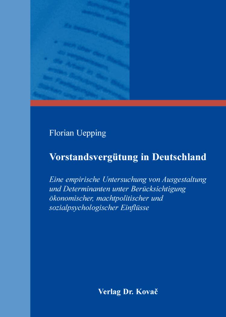 Cover: Vorstandsvergütung in Deutschland