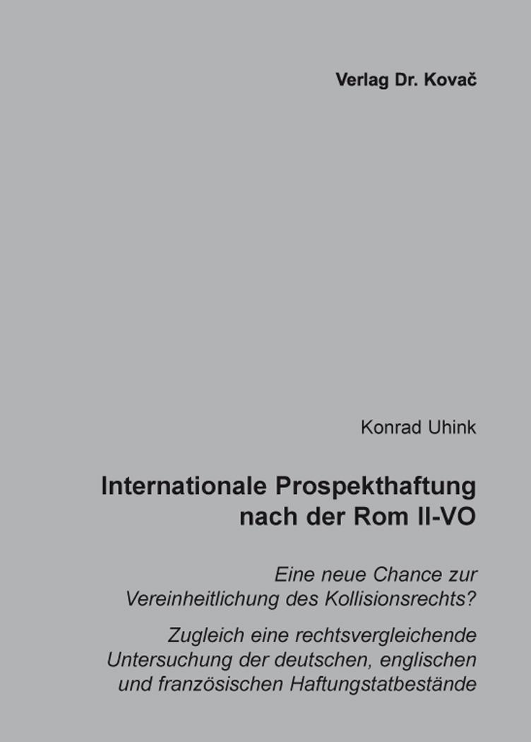 Cover: Internationale Prospekthaftung nach der Rom II-VO