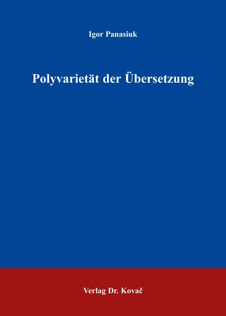 Cover: Polyvarietät der Übersetzung