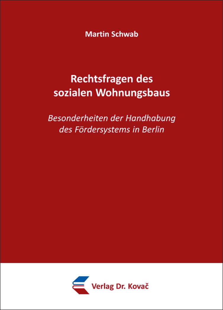 Cover: Rechtsfragen des sozialen Wohnungsbaus
