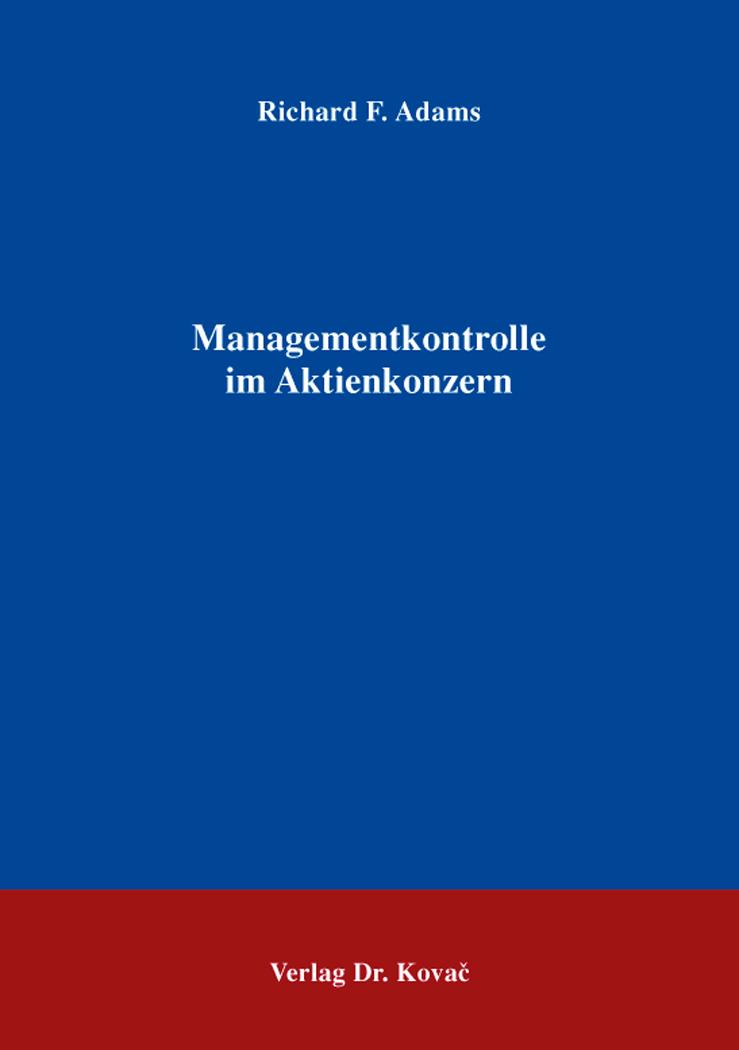 Cover: Managementkontrolle im Aktienkonzern