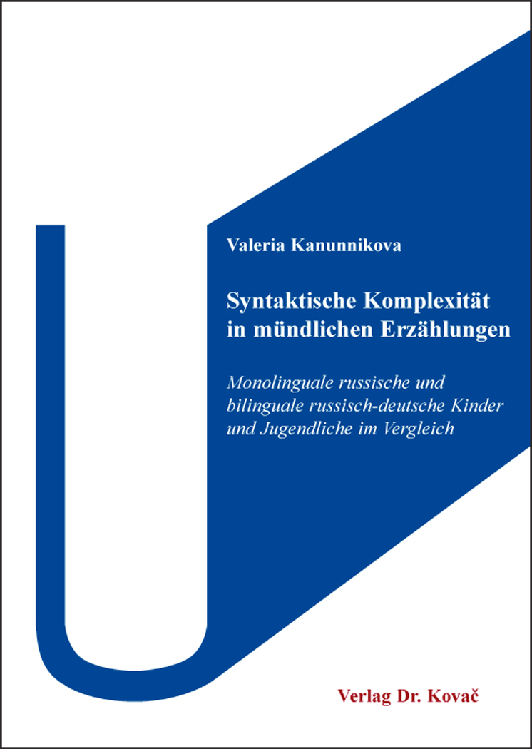 Cover: Syntaktische Komplexität in mündlichen Erzählungen