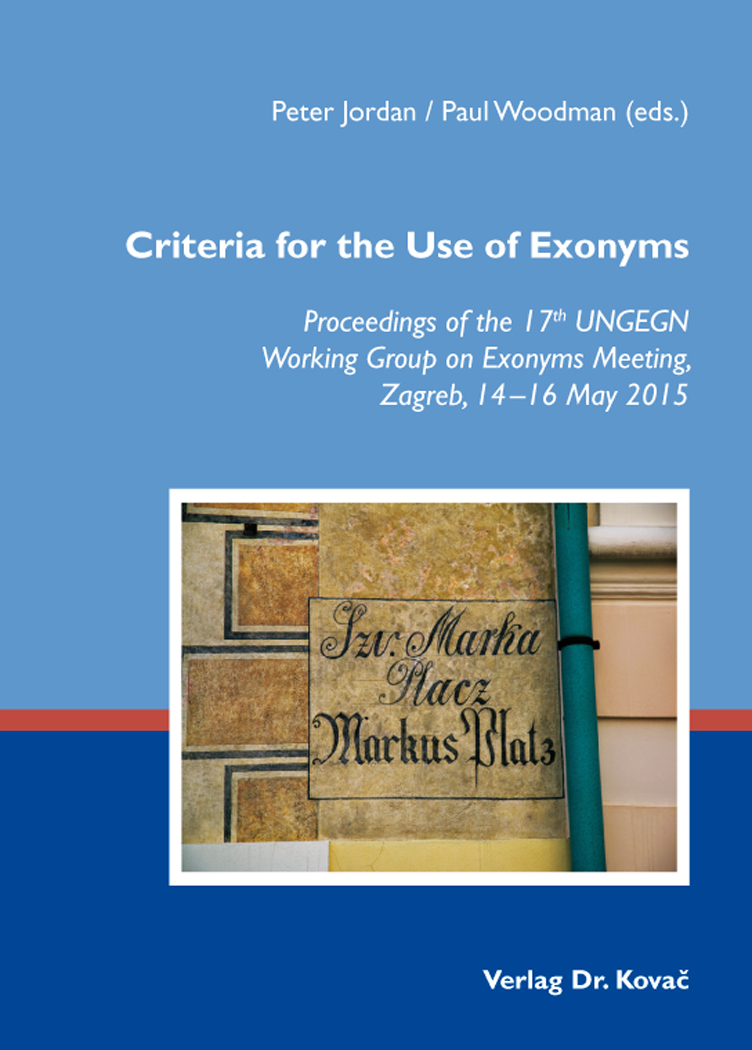 Cover: Criteria for the Use of Exonyms